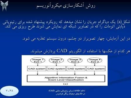 ImageProcessing-cad3 پردازش تصویر ادغام اطلاعات برای رتینوپاتی دیابتی با استفاده از الگوریتم CAD درعکسهای فوندوس دیجیتال رنگی